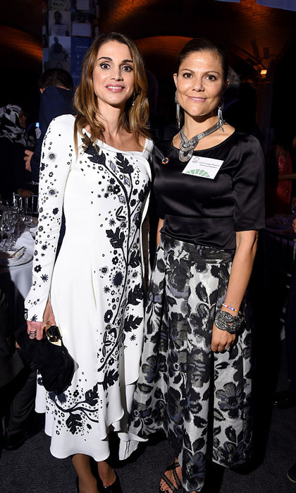Royalty collided at the 2016 Global Goals Awards dinner when Queen Rania and Crown Princess Victoria - both clad in black-and-white floral dresses - enjoyed a night out in the Big Apple.