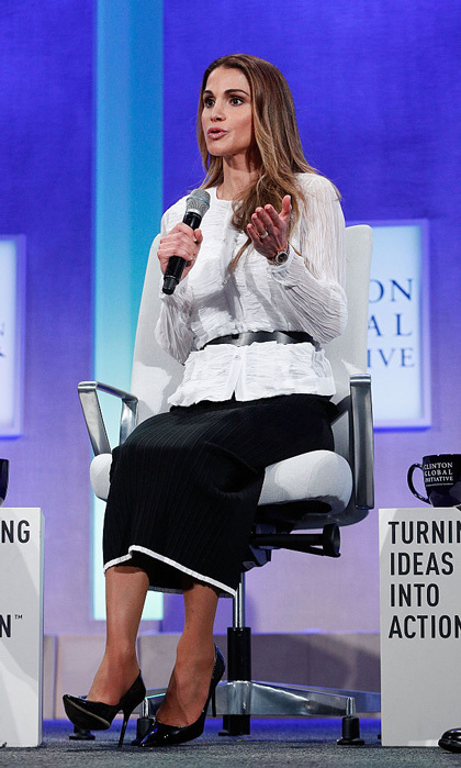 Queen Rania of Jordan donned a belted white blouse and black skirt to speak at the 2016 Clinton Global Initiative Annual Meeting held at the Sheraton New York Times Square on Sept. 19.