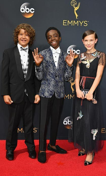 Millie stole the show with her equally stylish <em>Stranger Things</em> co-stars, Gaten Matarazzo and Caleb McLaughlin, at the 68th Annual Primetime Emmy Awards in Los Angeles. The 12-year-old wore a black Red Valentino gown with a bird motif and accessorized with a personalized clutch and chunky heels.