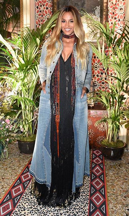 "Ciara was one of the famous faces spotted at the Roberto Cavalli show, describing the outfit she wore to attend as ""Bohemian Chic.""