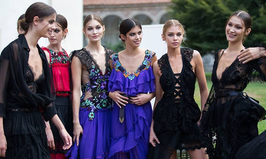 The Alberta Ferretti show was a star-studded affair with Taylor Hill, Stella Maxwell and Bella Hadid all joining the line-up.
