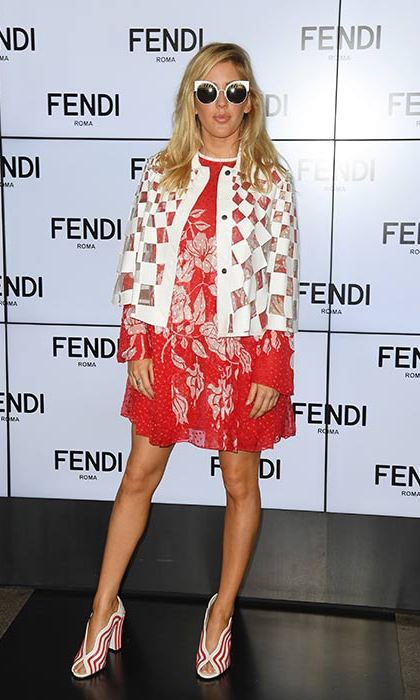 Ellie Goulding turned heads in a sixties-inspired ensemble at the Fendi show.