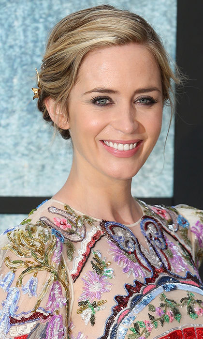 Emily Blunt floored fans at the premiere of <em>Girl on the Train</em> with her eye-catching braided updo and bold eye makeup. 