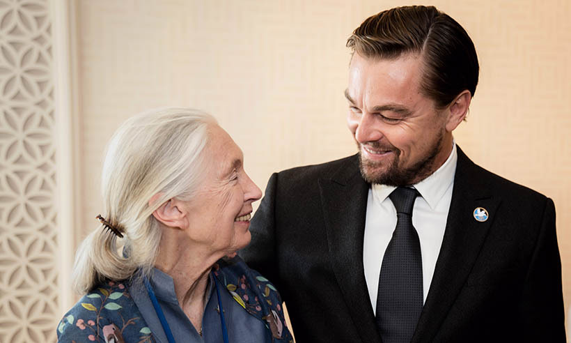 Oscar winner Leonardo DiCaprio was honoured by fellow UN Messenger of Peace Jane Goodall for his environmental advocacy at the General Assembly before the United Nations Peace Bell Ceremony. 