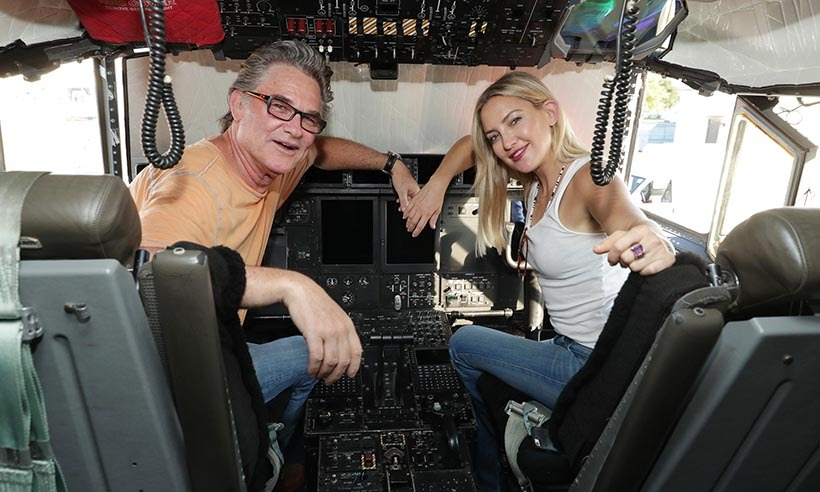 Father and daughter team Kurt Russell and Kate Hudson dropped by the Keesler Air Force Base in Mississippi. 