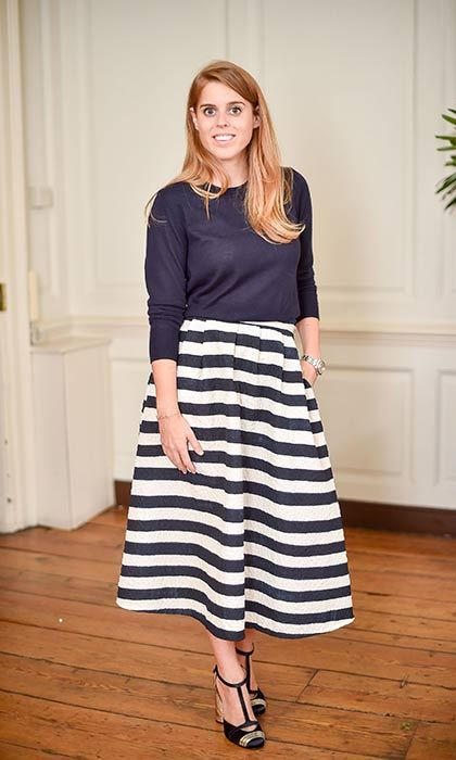 The Princess looked stylish in stripes at the Saloni presentation at London Fashion Week.