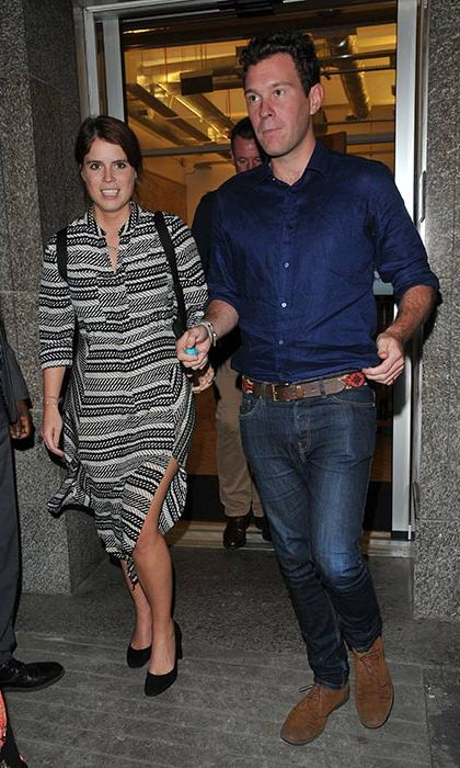 Princess Eugenie stepped out in a striped shirt dress for an outing with her boyfriend Jack in London.
