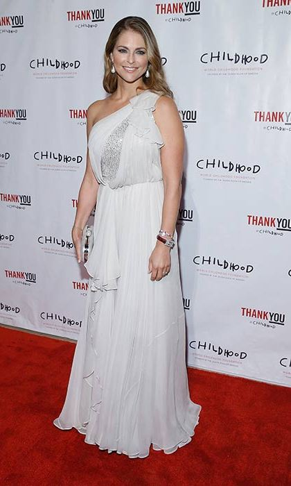 Princess Madeleine opted for a glamorous one-shoulder white gown to attend the World Childhood Foundation USA Thank You Gala in New York.