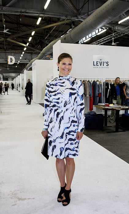 Princess Victoria showed off her style prowess in a patterned shift dress at the Capsule Fashion Trade Show in New York.