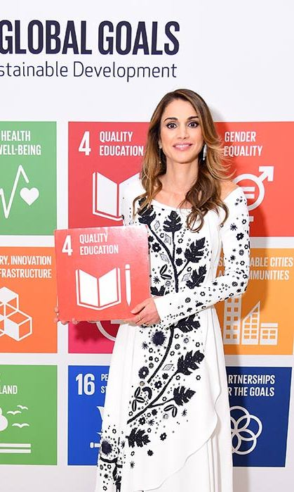 The Jordanian queen looked elegant at the Global Goals Awards dinner in a monochrome patterned dress.