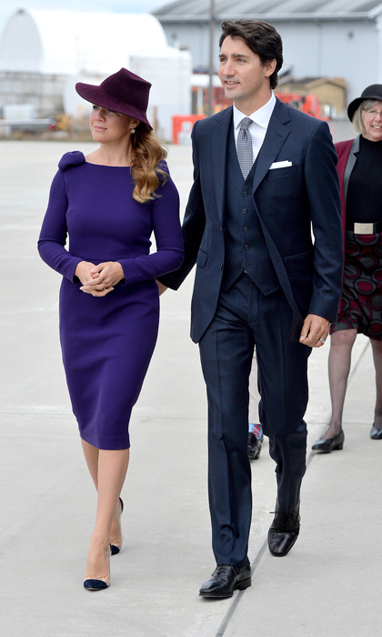 Sophie continued to fly the flag for Canadian designers as she and husband Justin Trudeau officially welcomed the Duke and Duchess of Cambridge to Canada on Sept. 24. The mother of three opted for a purplish-blue Editions de Robes dress with bow accents on the shoulders, which she paired with a wine-hued hat by Saucy Milliner jauntily tilted to the side. Her blond locks were worn cascading down one side in chic waves. Sophie anchored the look with Hudson's Bay shoes and accented her ensemble with Anzie jewelry.
