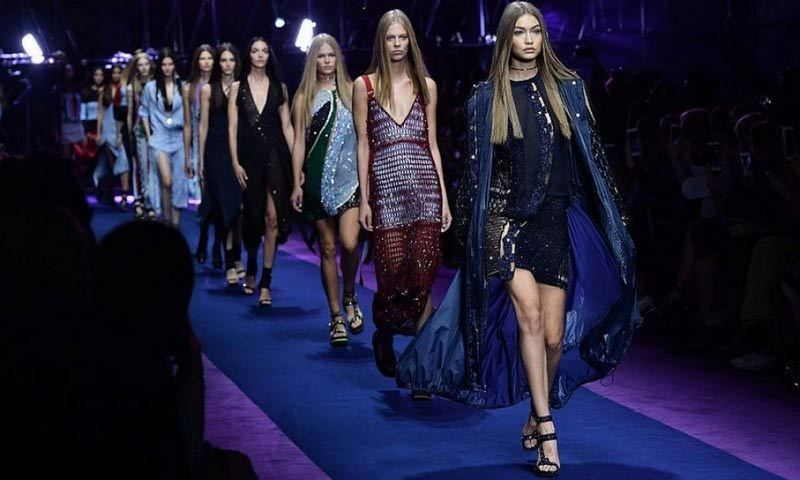 Gigi Hadid was the leader of the pack down the Versace runway.
