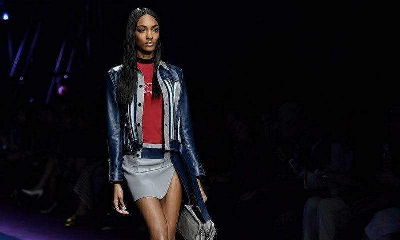 Jourdan Dunn showed off a sporty and leggy look during the SS17 Versace show.
