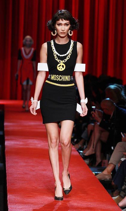 Just like her big sister! Bella Hadid also joined Gigi, modelling in the Moschino show.