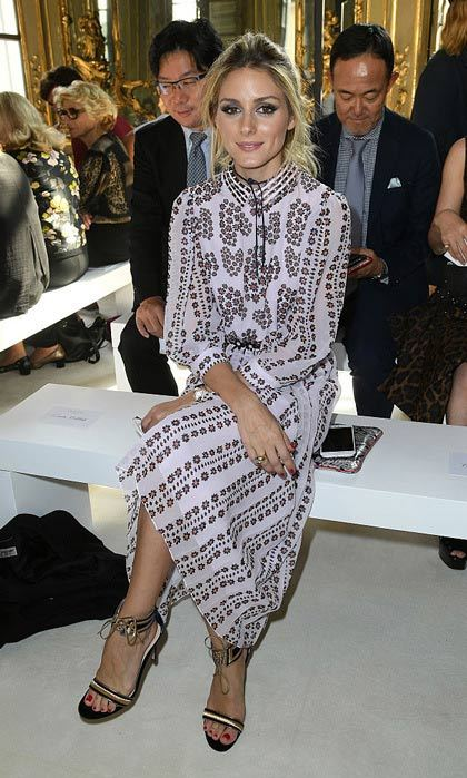 Olivia Palermo was sitting pretty wearing a pink frock in the front row of the Giamba show.