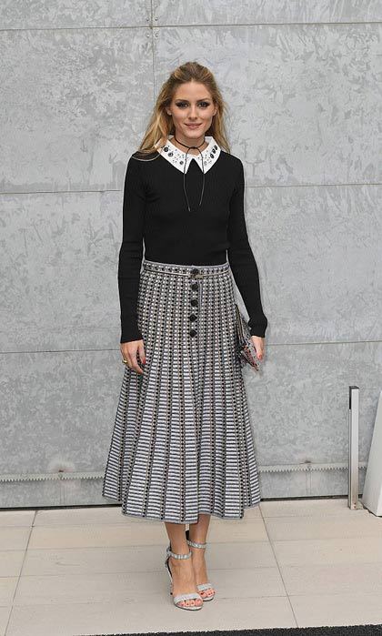 Olivia Palermo looked chic sporting an embellished peter pan collared top and midi skirt to the Giorgio Armani show.