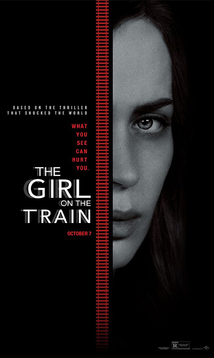 "Emily plays ""black-out drunk"" Rachel in <em>The Girl on the Train</em>."