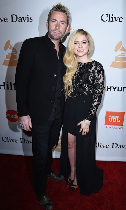 The former couple also joined forces for Clive Davis's pre-GRAMMYs bash, where Avril wore her blond locks in soft waves with a lacy, mullet-style gown.