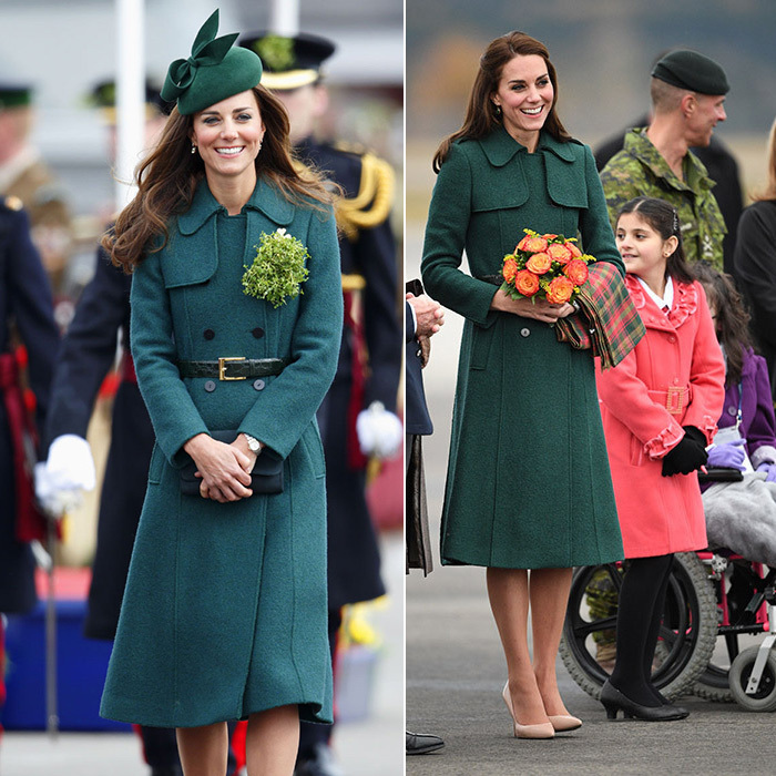 Kate kept the chill at bay on St Patrick's Day in 2014 thanks to her appropriately hued Hobbs coat, which she paired with a leather belt, green corsage and matching wool fascinator. When she arrived in Whitehorse, Yukon Territory, as part of her royal tour of Canada in 2016, fashion fans were quick to recognize the elegant trench coat, which she wore with nude pumps and a tartan scarf slung over one arm.