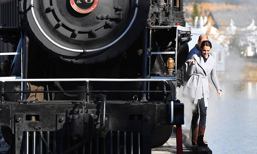 When the Duke and Duchess of Cambridge visited Carcross, Yukon, in Sept. 2016, the daring duo hopped on a steam train parked on a railway bridge. The adventurous pair made a somewhat dangerous exit off the train by tiptoeing their way to safety along a narrow beam. 