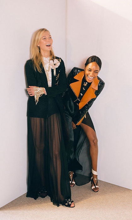 Karlie Kloss shared a laugh with fellow Lanvin model Jourdan Dunn at the womenswear spring/summer show.