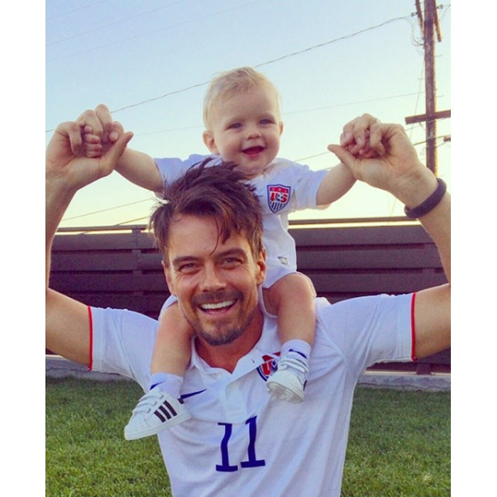 Josh Duhamel and his three-year-old son Axl Jack were the image of each other as they supported Team USA together!