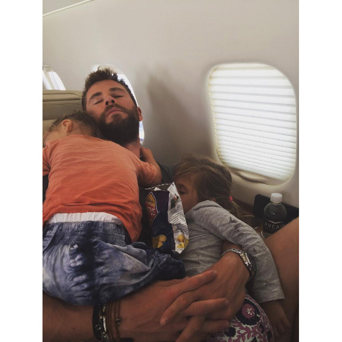 "Chris Hemsworth's wife Elsa Pataky shared a photo of the <em>Thor</em> star snoozing with four-year-old India and one of his two-year-old twin sons. Elsa captioned the photo: ""Nothing better than sleeping in papa's arms!"" 