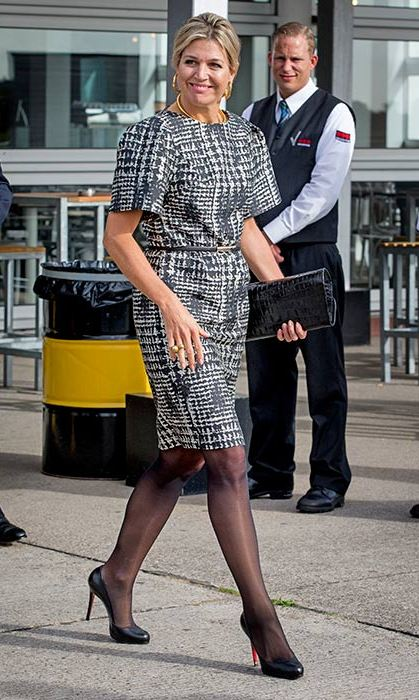 The Dutch Queen wore a smart houndstooth dress and heels to attend a conference on Monday.