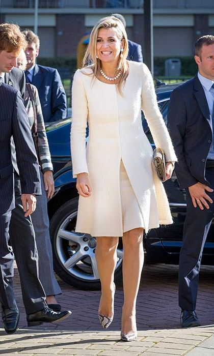 Queen Maxima adds a fashion-forward twist to her formalwear with snake print heels.