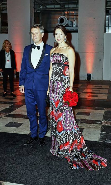 The Danish royal wore a multi-patterned bandeau gown to attend the Grand Ball during her visit to USA.