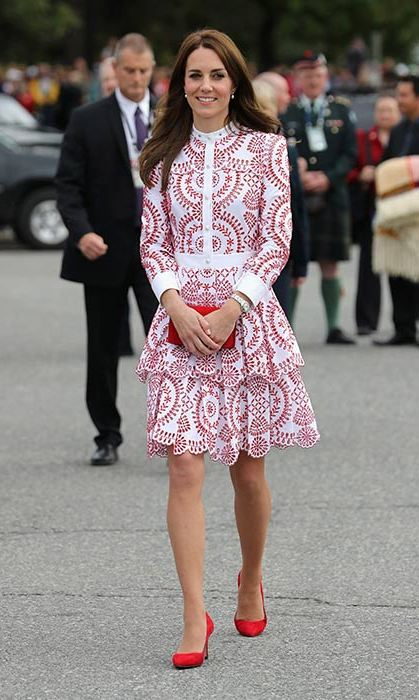 The Duchess wore a custom Dolce & Gabbana design to visit the University of British Columbia on Tuesday.