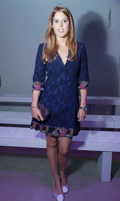 Princess Beatrice of York stepped out to the Rebecca Minkoff Spring 2016 show during New York Fashion Week wearing a chic mini dress featuring embellishments on the sleeves and hem.