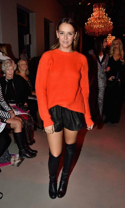 Pauline Ducruet kept it simple and chic in leather and an oversized sweater at the Andrew GN presentation during Paris Fashion Week.