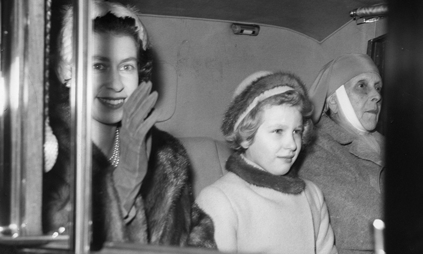 Princess Alice pictured with her daughter-in-law, the Queen, and Princess Anne. 