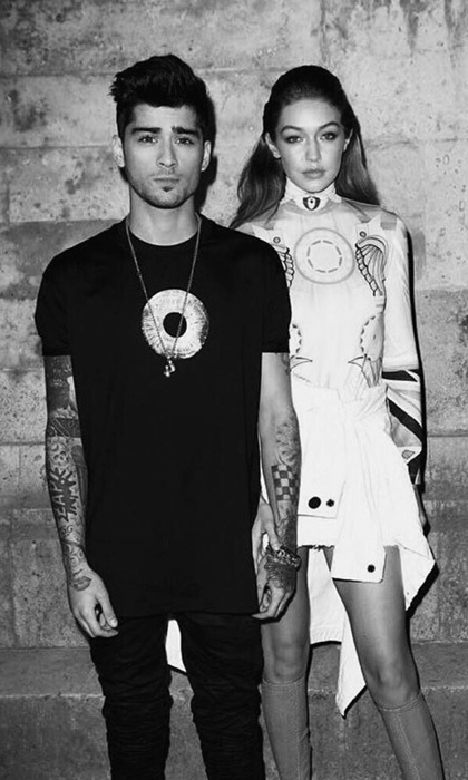 Hot couple Zayn Malik and Gigi Hadid stepped out hand-in-hand for the Givenchy show, where they were joined by the supermodel's younger brother Anwar Hadid.