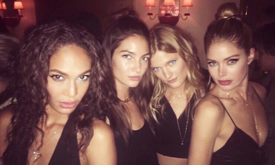 It was a girls' night out in Paris for models Joan Smalls, Lily Aldridge, Constance Jablonski and Doutzen Kroes.