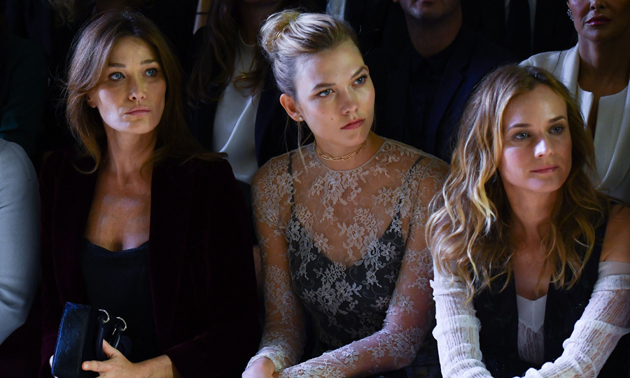 A stylish trio. Carla Bruni, Karlie Kloss and Diane Kruger took their seats in the front row for the Christian Dior presentation.