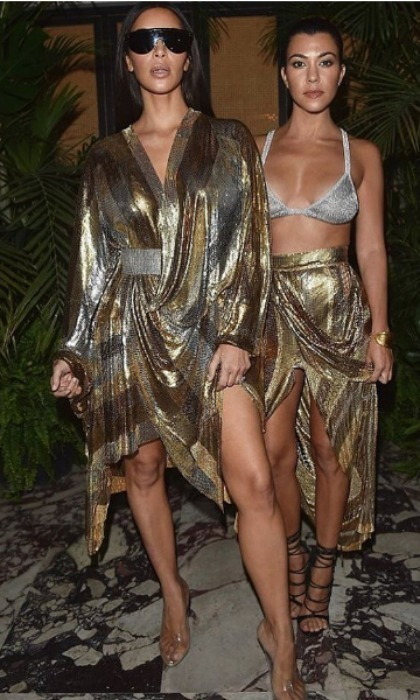 Kim Kardashian and Kourtney Kardashian were double trouble in Balmain during the fashion house's after party.