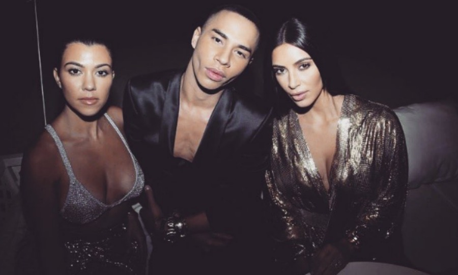 After the show it's the after party! Kourtney Kardashian, Olivier Rousteing and Kim Kardashian posed for a fierce photo after the Balmain show. 