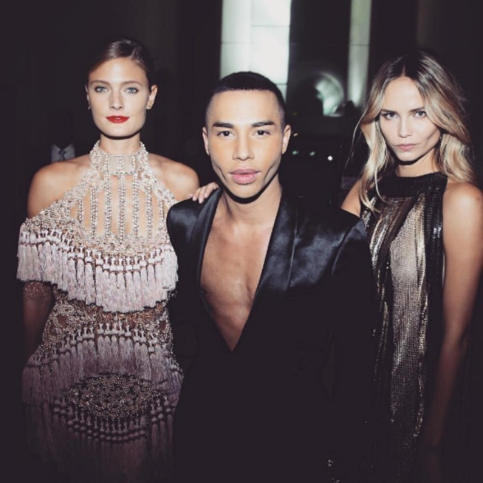 Olivier Rousteing posed with Constance Jablonski and Natasha Poly after the Balmain presentation. 