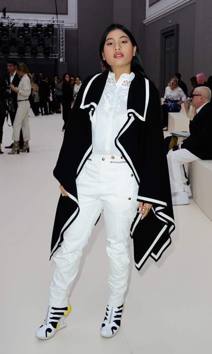 Princess Siriwanwaree Nareerat of Thailand stepped out in a black and white ensemble for the Chloe show in Paris.