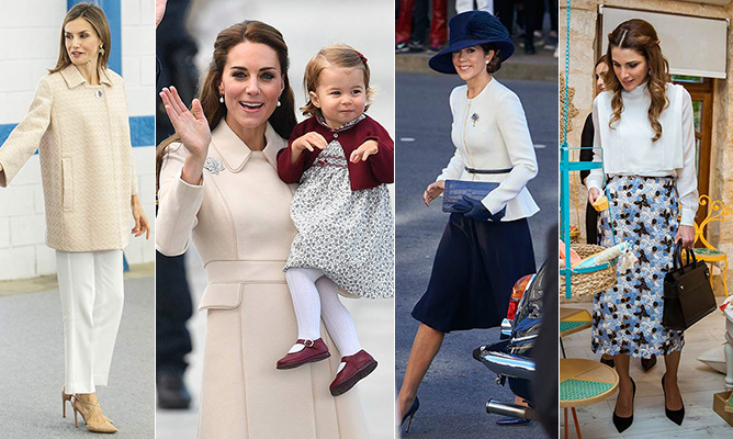 This week's best-dressed royals favoured neutrals with pops of red and blue! See all the week's best looks, from Queen Letizia and Kate to Princess Mary and Queen Rania, by clicking through our gallery...