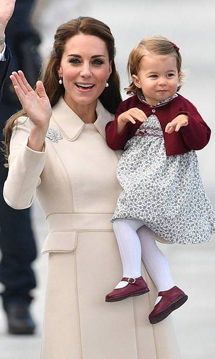 The Duchess of Cambridge looked elegant in a Catherine Walker coat as she waved goodbye to Canada.