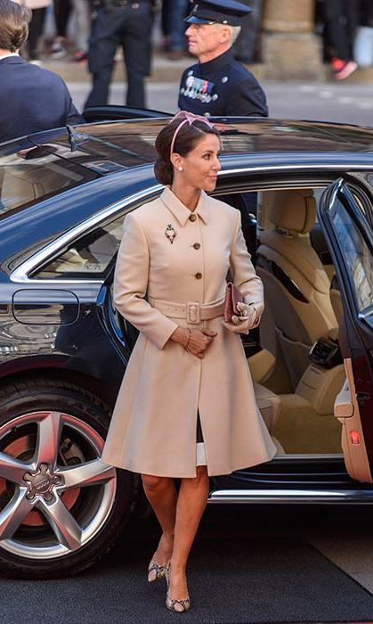 Princess Marie also attended the opening of Parliament, and covered up for the occasion in a tan belted coat, teamed with pink heels and a statement headband.