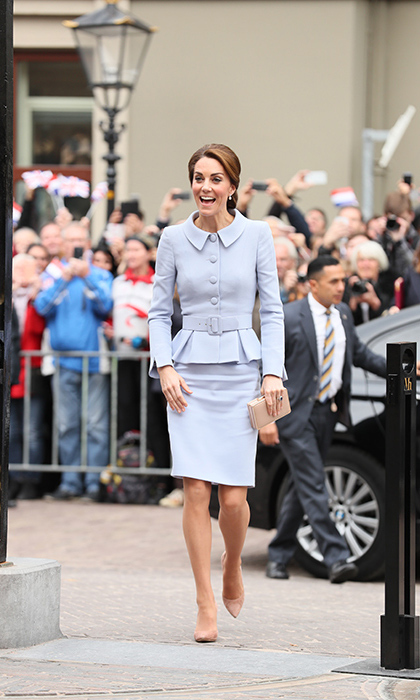 Kate, 34, was on top form and looked elegant in a pale blue Catherine Walker suit.