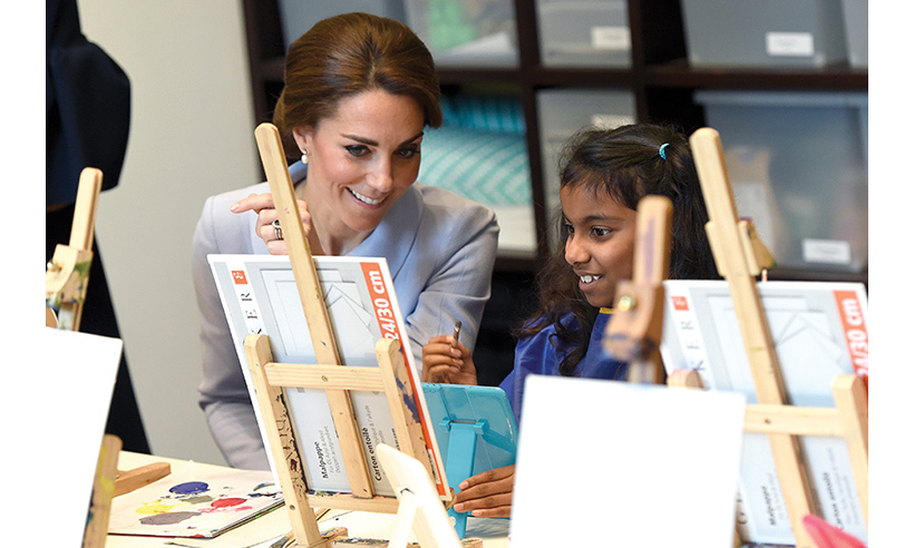 Creative Kate was particularly charmed by one little girl and bent down to talk to her, showing off her maternal side.