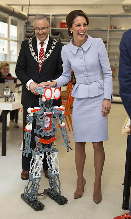 Kate got the giggles as Meganoid the robot showed the Duchess his best moves!