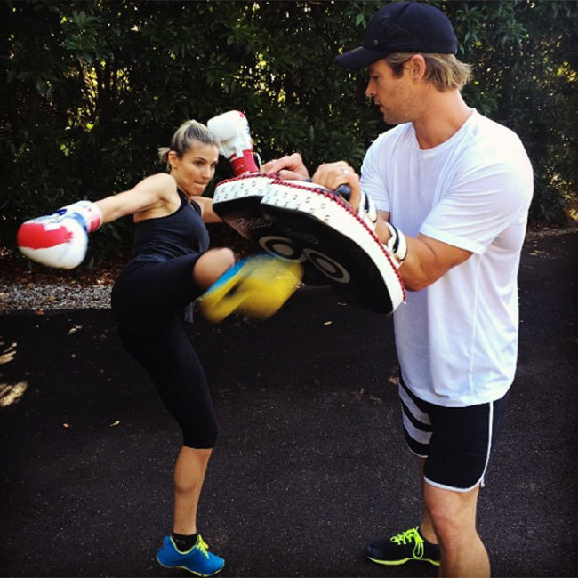 Elsa Pataky gave fans a sneak peek of her training session with husband Chris Hemsworth back in 2014. 