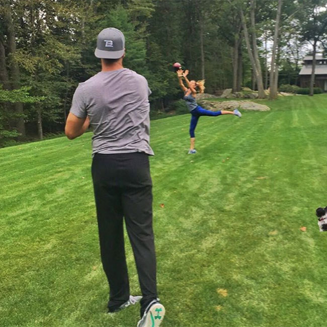 "Gisele revealed she was helping husband Tom Brady stay in shape with a quick training session. ""Don't worry guys. I will keep him ready. #Brady'scamp #IwillwhatIwant,"" she quipped in the accompanying caption. 