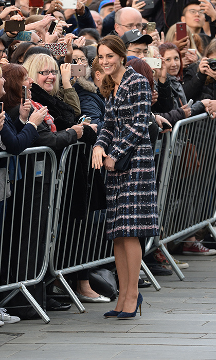 Kate dazzled in a coat by Canadian designer Erdem. 